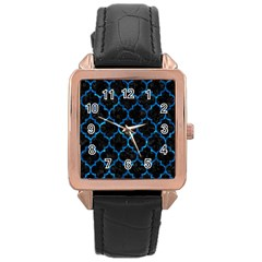 Tile1 Black Marble & Deep Blue Water Rose Gold Leather Watch  by trendistuff