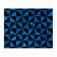 Triangle1 Black Marble & Deep Blue Water Small Glasses Cloth (2 Side) by trendistuff