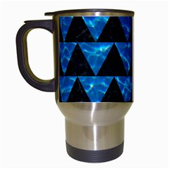 Triangle2 Black Marble & Deep Blue Water Travel Mugs (white) by trendistuff