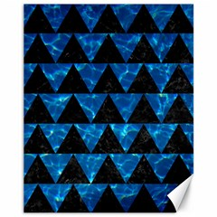 Triangle2 Black Marble & Deep Blue Water Canvas 11  X 14   by trendistuff