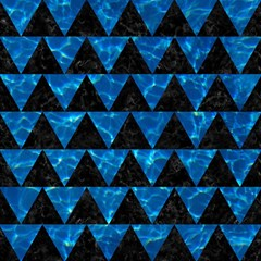 Triangle2 Black Marble & Deep Blue Water Magic Photo Cubes by trendistuff