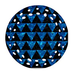 Triangle2 Black Marble & Deep Blue Water Round Filigree Ornament (two Sides) by trendistuff
