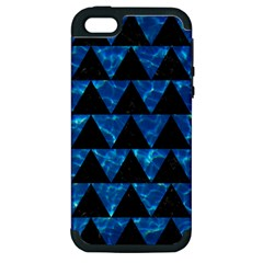 Triangle2 Black Marble & Deep Blue Water Apple Iphone 5 Hardshell Case (pc+silicone) by trendistuff