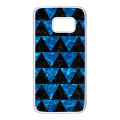 Triangle2 Black Marble & Deep Blue Water Samsung Galaxy S7 White Seamless Case by trendistuff