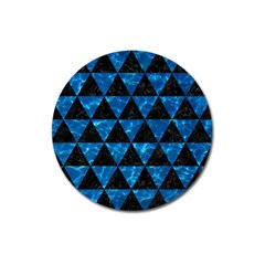Triangle3 Black Marble & Deep Blue Water Magnet 3  (round) by trendistuff
