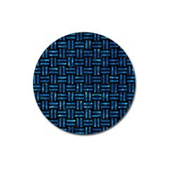 Woven1 Black Marble & Deep Blue Water Magnet 3  (round) by trendistuff