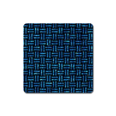 Woven1 Black Marble & Deep Blue Water Square Magnet by trendistuff