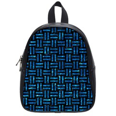 Woven1 Black Marble & Deep Blue Water School Bag (small) by trendistuff