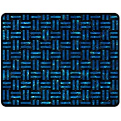 Woven1 Black Marble & Deep Blue Water Double Sided Fleece Blanket (medium)  by trendistuff