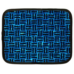 Woven1 Black Marble & Deep Blue Water (r) Netbook Case (xl)  by trendistuff