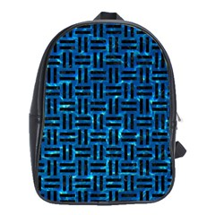 Woven1 Black Marble & Deep Blue Water (r) School Bag (xl) by trendistuff