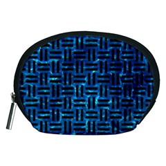 Woven1 Black Marble & Deep Blue Water (r) Accessory Pouches (medium)  by trendistuff