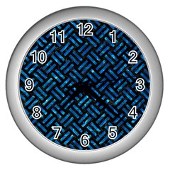 Woven2 Black Marble & Deep Blue Water Wall Clocks (silver)  by trendistuff