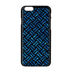 Woven2 Black Marble & Deep Blue Water Apple Iphone 6/6s Black Enamel Case by trendistuff