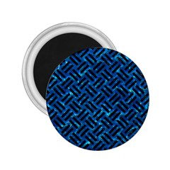 Woven2 Black Marble & Deep Blue Water (r) 2 25  Magnets by trendistuff