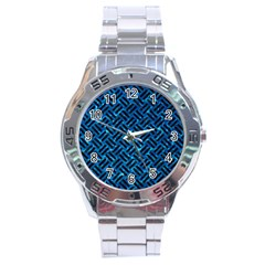 Woven2 Black Marble & Deep Blue Water (r) Stainless Steel Analogue Watch by trendistuff