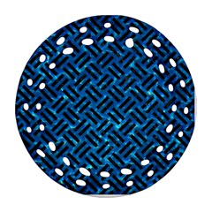 Woven2 Black Marble & Deep Blue Water (r) Ornament (round Filigree) by trendistuff