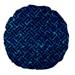 Woven2 Black Marble & Deep Blue Water (r) Large 18  Premium Round Cushions by trendistuff