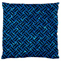 Woven2 Black Marble & Deep Blue Water (r) Standard Flano Cushion Case (two Sides) by trendistuff
