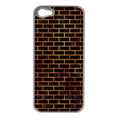 Brick1 Black Marble & Fire Apple Iphone 5 Case (silver) by trendistuff