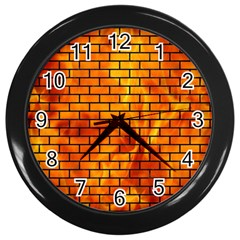 Brick1 Black Marble & Fire (r) Wall Clocks (black) by trendistuff