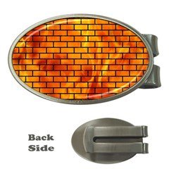 Brick1 Black Marble & Fire (r) Money Clips (oval)  by trendistuff