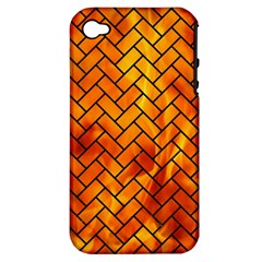 Brick2 Black Marble & Fire (r) Apple Iphone 4/4s Hardshell Case (pc+silicone) by trendistuff
