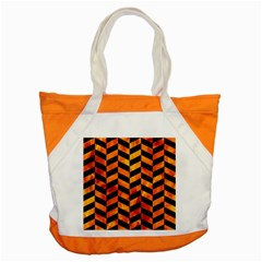 Chevron1 Black Marble & Fire Accent Tote Bag by trendistuff