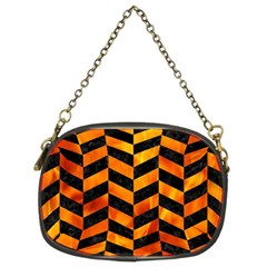 Chevron1 Black Marble & Fire Chain Purses (two Sides)  by trendistuff