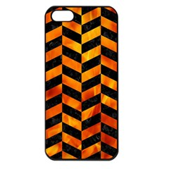Chevron1 Black Marble & Fire Apple Iphone 5 Seamless Case (black) by trendistuff