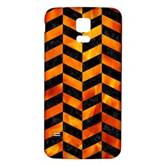 Chevron1 Black Marble & Fire Samsung Galaxy S5 Back Case (white) by trendistuff