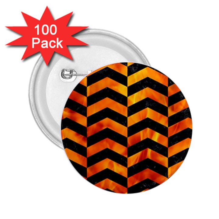 CHEVRON2 BLACK MARBLE & FIRE 2.25  Buttons (100 pack)