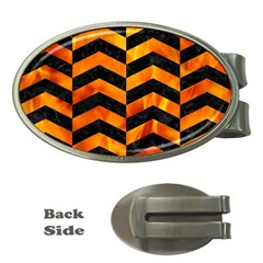 Chevron2 Black Marble & Fire Money Clips (oval)