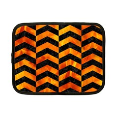 Chevron2 Black Marble & Fire Netbook Case (small)  by trendistuff