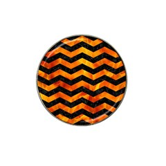 Chevron3 Black Marble & Fire Hat Clip Ball Marker by trendistuff