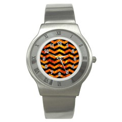 Chevron3 Black Marble & Fire Stainless Steel Watch by trendistuff