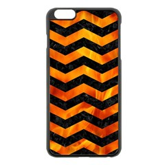 Chevron3 Black Marble & Fire Apple Iphone 6 Plus/6s Plus Black Enamel Case by trendistuff