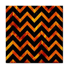 Chevron9 Black Marble & Fire Tile Coasters by trendistuff