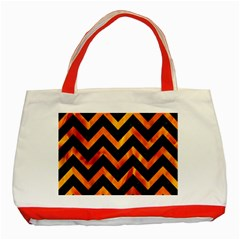 Chevron9 Black Marble & Fire Classic Tote Bag (red)