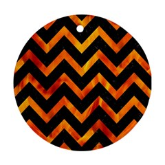 Chevron9 Black Marble & Fire Round Ornament (two Sides) by trendistuff