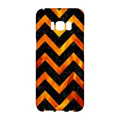 Chevron9 Black Marble & Fire Samsung Galaxy S8 Hardshell Case  by trendistuff
