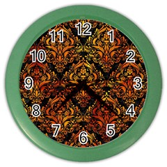 Damask1 Black Marble & Fire Color Wall Clocks by trendistuff