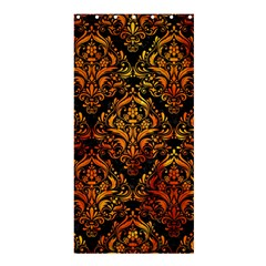 Damask1 Black Marble & Fire Shower Curtain 36  X 72  (stall)  by trendistuff