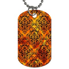 Damask1 Black Marble & Fire (r) Dog Tag (two Sides) by trendistuff