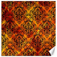 Damask1 Black Marble & Fire (r) Canvas 12  X 12   by trendistuff