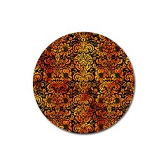 Damask2 Black Marble & Fire Magnet 3  (round) by trendistuff