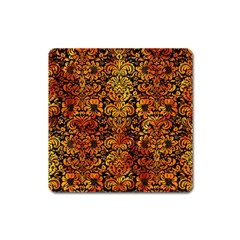 Damask2 Black Marble & Fire Square Magnet by trendistuff
