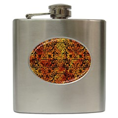 Damask2 Black Marble & Fire Hip Flask (6 Oz) by trendistuff
