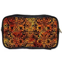 Damask2 Black Marble & Fire Toiletries Bags by trendistuff