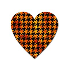 Houndstooth1 Black Marble & Fire Heart Magnet